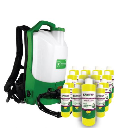 Victory Innovations Co Victory Professional Cordless Electrostatic Backpack Sprayer w/ 16 Pack Quick Pour Disinfectant